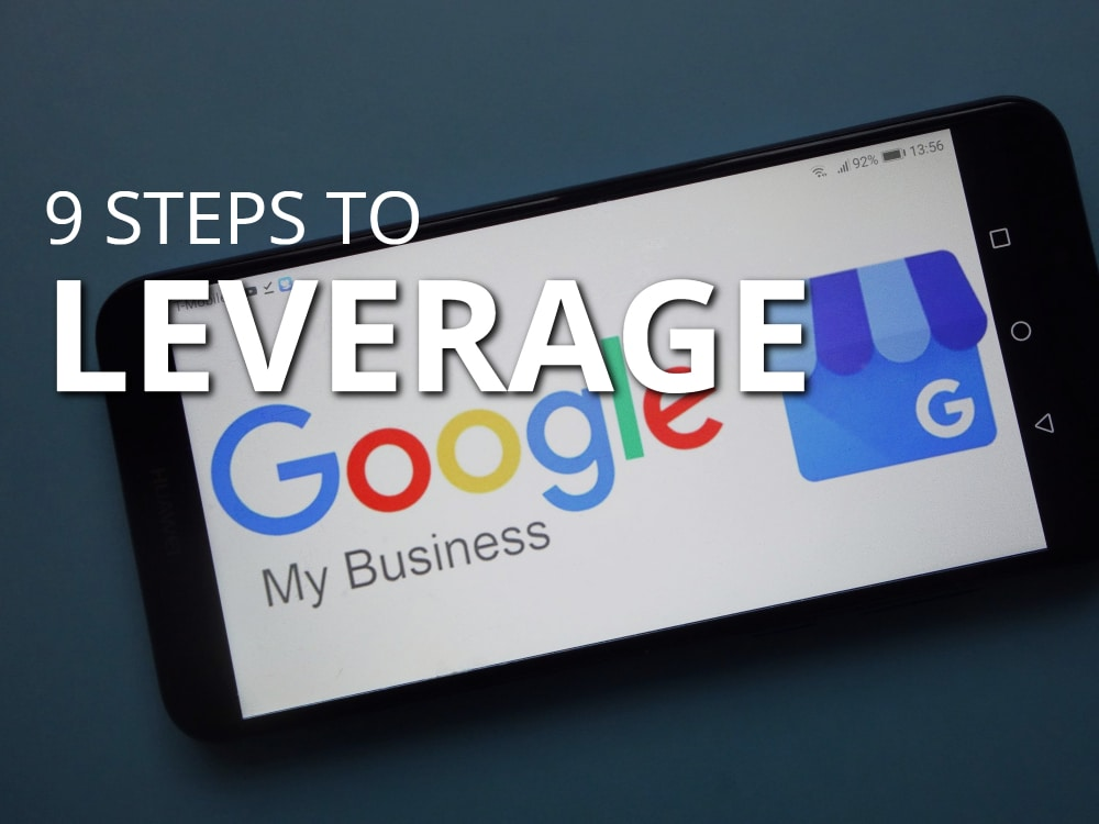 graphic of cell phone with Google My Business logo