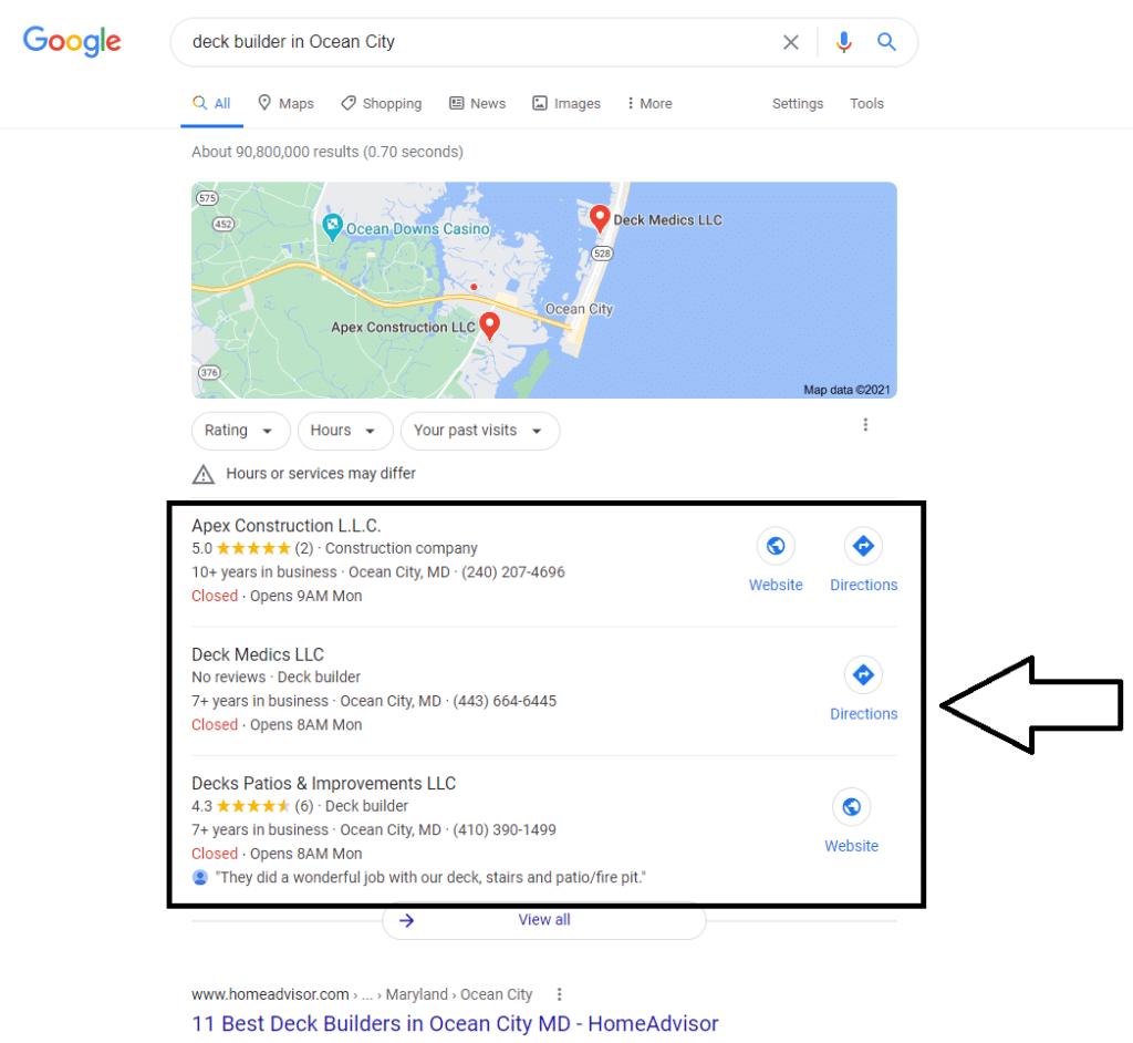 screen shot of Google's 3-Pack underneath Google Maps
