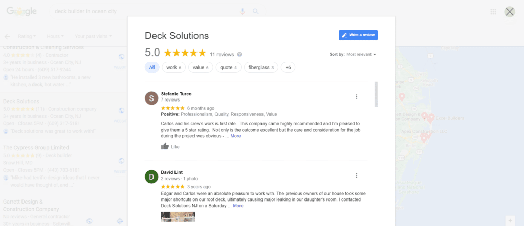 screenshot of online reviews from Google My Business