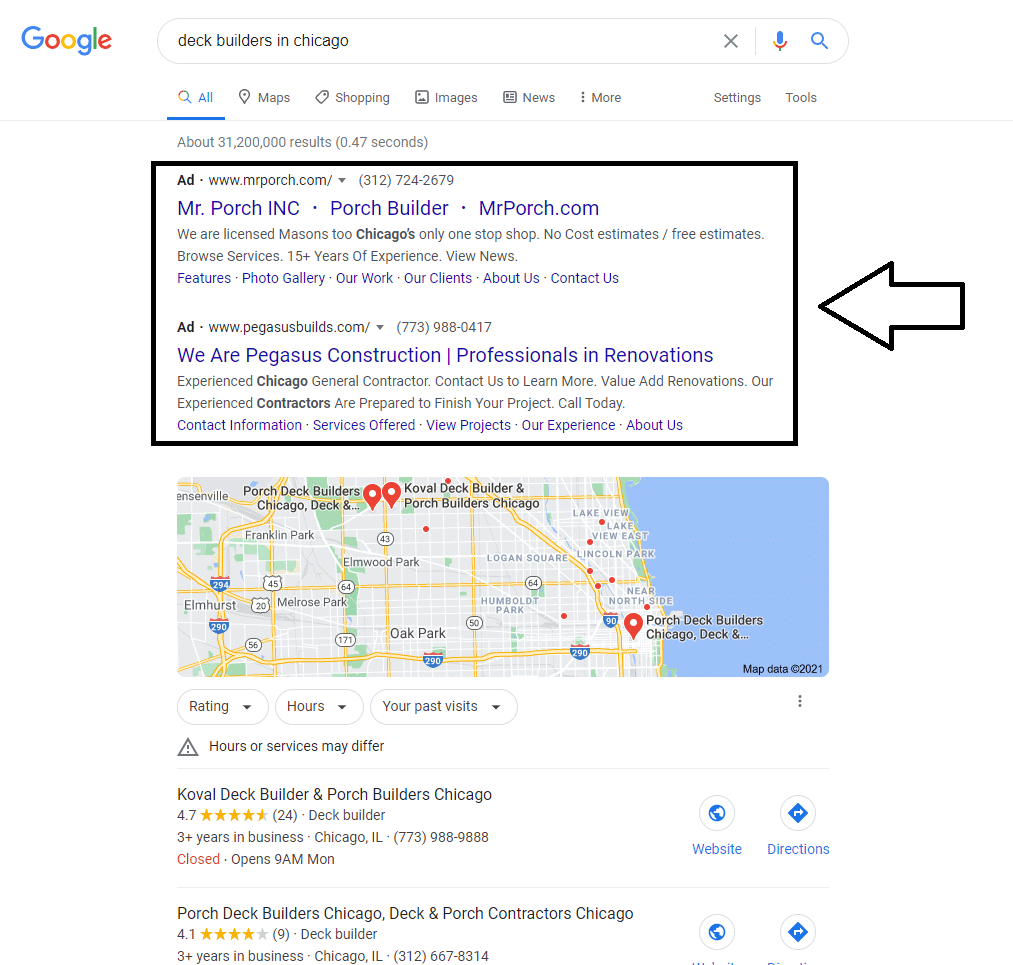 screenshot of Google results showing PPC ads at top of page