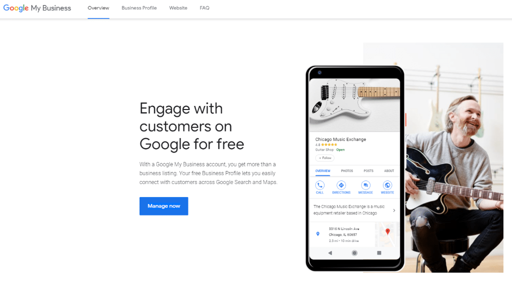 screenshot of Google My Business sign up page