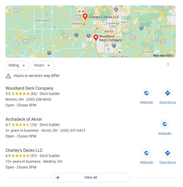 graphic of the Google Maps 3-Pack used in local SEO