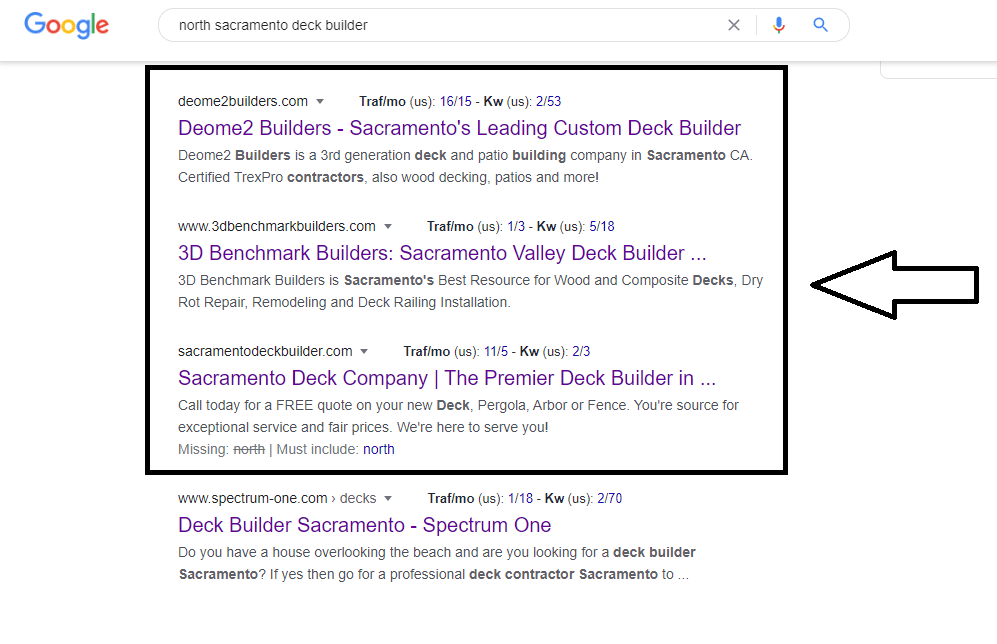 screenshot of Google search engine results page